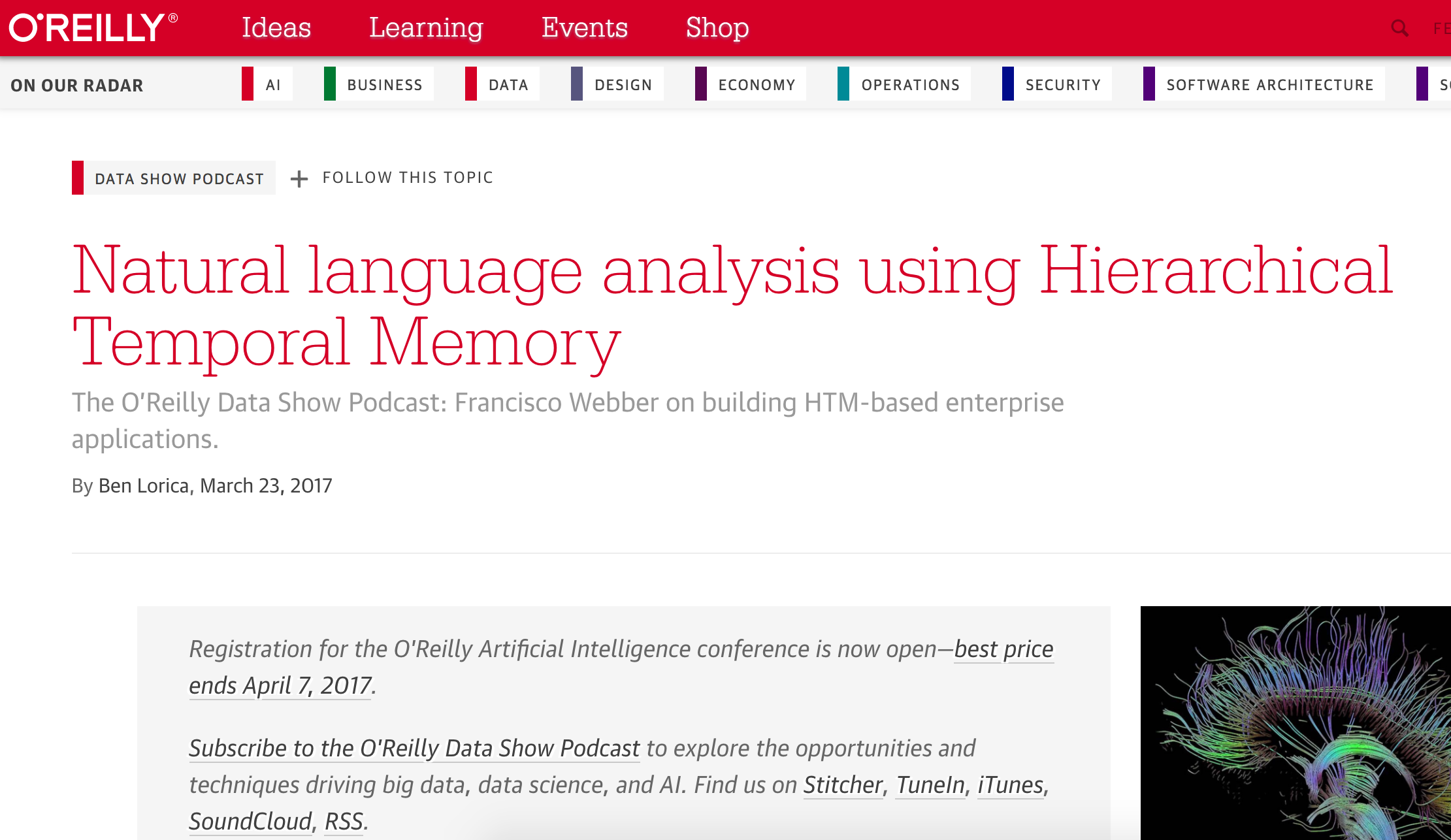 Podcast - Natural language analysis using Hierarchical Temporal Memory