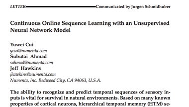 Continuous Online Sequence Learning with an Unsupervised Neural Network Model
