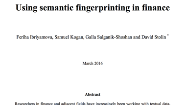 Using semantic fingerprints in finance